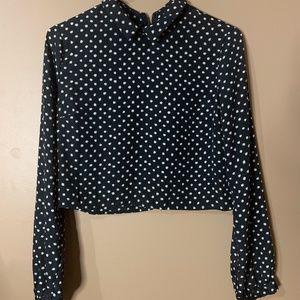 Polka dot long sleeve crop top
